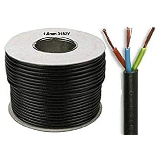 50 Meters Drum/Reel of Black Flex 3183Y 1.5mm 15 Amp 3 Core Flexible Black Cable