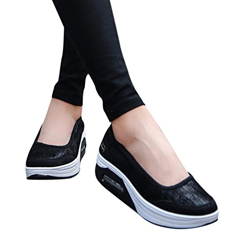 Scarpe Estive Donna,Scarpe Eleganti,Scarpe Sneaker,Scarpe Sportive,Yanhoo®Moda Donna Cuscino D'Aria Piattaforma Scarpe Shake Scarpe Slip Sport Sneakers (35=Asia 36, Nero)