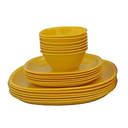 Incrizma Plastic Square Plate and Bowl Set, 18-Pieces, Yellow