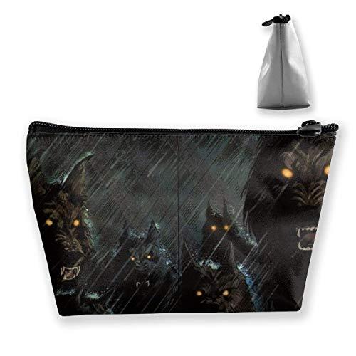 Dark Storm Rain Halloween Werewolf Hellhound Animals Wolf Wolves Trapezoid Storage Bag Makeup Bag Pouch Bag Pencil Case Fashion Handbag (Make-up Halloween Gefrorenen)