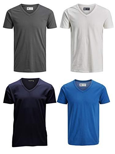 JACK & JONES Herren T-Shirt JJEBASAL Tee V-Neck GER KA - Slim Fit 4er Pack in vielen Farbvarianten, Größe:XL, Farbe:1x Classic Blue 1x Navy 1x Cloud Dancer 1x Asphalt -