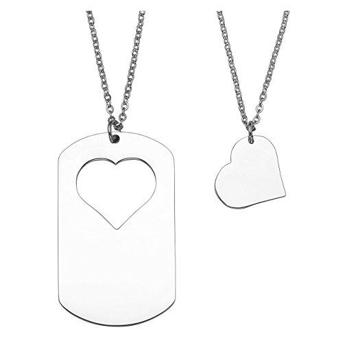 Personalized Master Kundenspezifische Gravur Herz Dog Tag Anhänger Partner-ketten mit Kette Halskette für Paare Geschenk Valentinstag Geschenkset