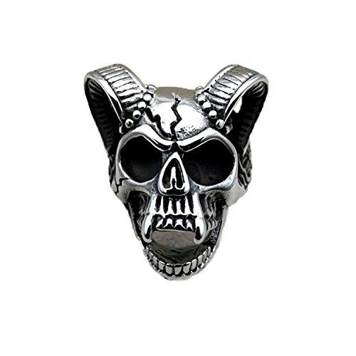 chuhe mit Hip Hop Shofar Ring Totenkopf-Skelett-Ring, Edelstahl, silber Punk mit Ringen, ideal als Geschenk für Herren (Größe F) (Mädchen Silber Skelett Kostüme)
