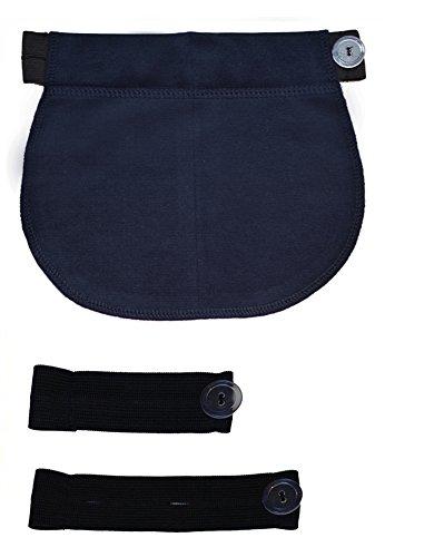Mija - Set 3 Stück Schwangerschaft Hosenerweiterung Rockerweiterung BAUCHBAN 1028 (Blau) (Capri-hosen Denim Set)
