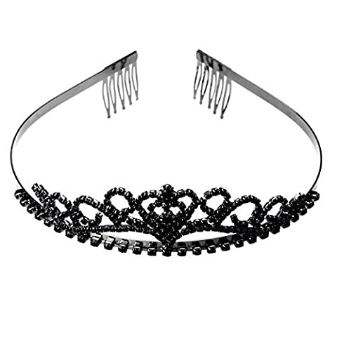 ROSENICE Tiara Crown with Hair Comb Clip Rhinestone Heart Hairband Headband (Black)