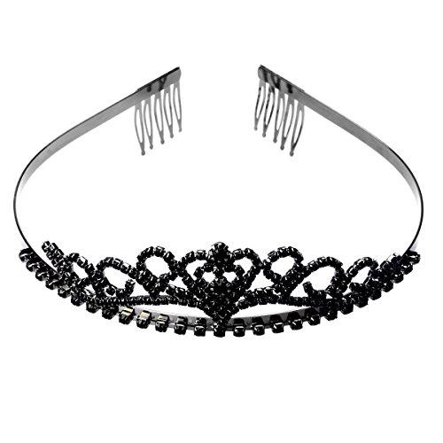 ROSENICE Diadem Herz Krone mit Haarkamm Clip Hochzeit Haarband Schwarz Stirnband