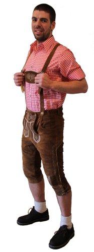 Kniebund Trachten - Lederhose Farbe hellbraun, mit Hosenträger, Größe 60