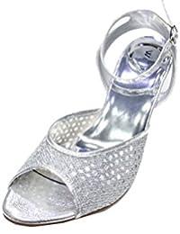 3df17aa2c3aa W W Women Ladies Evening Diamante Low Heel Sandal Prom Party Wedding Bridal  Shoes Size