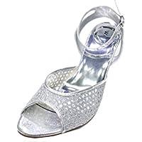 a1b09dc6728ce1 W W Women Ladies Evening Diamante Low Heel Sandal Prom Party Wedding Bridal  Shoes Size