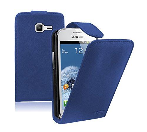 Membrane - Blau Klapptasche Hülle Samsung Galaxy Fresh (GT-S7390 / Trend Lite / S7392 Duos) - Flip Case Cover Schutzhülle + 2 Displayschutzfolie