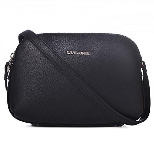 David Jones - Damen Mittelgroße Umhängetasche Viele Taschen - Satteltasche Schultertasche - Basic Frauen Leder Reißverschluss Handtasche - Multi Pocket Tasche Einfach Klassisch Messenger - Schwarz -