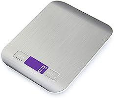 GPISEN Smart Digital Báscula con Pantalla LCD para Cocina de Acero Inoxidable, 5kg/11lbs, Balanza de Alimentos...