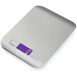 GPISEN Smart Digital Báscula con pantalla LCD para Cocina de Acero Inoxidable, 5kg/1lbs, Balanza de Alimentos Multifuncional,Color Plata,(2 Baterías Incluidas)
