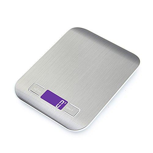 Specifiche Tecniche: Capacità Massima: 5kg / 11 lbs Risoluzione: 0.05 oz /1g Errore: ± 3g Unità: g - kg - lb - oz - ml - milk/ml Materiale: Acciaio Inossidabile + Plastica Alimentazione: 2 Batteries AAA (Incluse) Colore: Argento Caratteristiche: Indi...