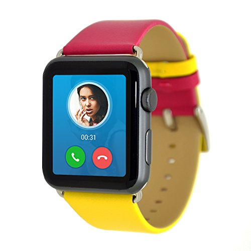 Apple reloj correa, Apple Watch Band 38mm serie 1Serie 2, misvoice doble color piel auténtica correa muñeca banda reemplazo con broche de metal para Apple iWatch y deporte y edición 38mm regalos embalaje nav-blue/color blanco