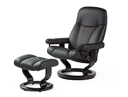 PRIMA Clever einrichten Stressless Bequemsessel inkl Hocker schwarz Echtleder Sessel Sitz Armlehnen Hochlehne Sitzmöbel