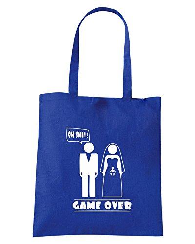 T-Shirtshock - Borsa Shopping MAT0066 Oh Shit Game Over Maglietta Blu Royal