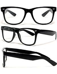 PURECITY© - Lunettes Monture style Wayfarer Geek Retro Vintage 80's - Monture Noir - Verres Neutre Transparent - Fashion - Tendance