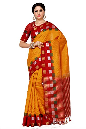 Mimosa Women's Tussar Silk Saree With Blouse Piece (4044-216-2D-Gld-Mrn_Orange)