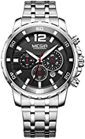 Megir Wrist Watch for Men, Stainless Steel, MS2068G-1