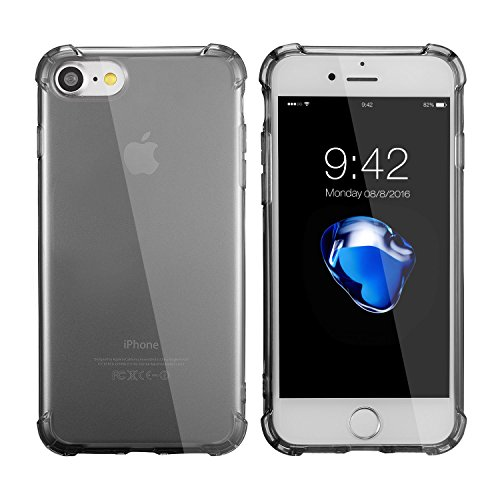 Coque iphone 7&iPhone 8 (4.7 Inch),case cover Etuis en Gel Silicone et TPU Coussin d'air [Anti-rayures] Premium Flexible et Souple pour Apple iphone 7&iPhone 8 bleu claire noir coussin