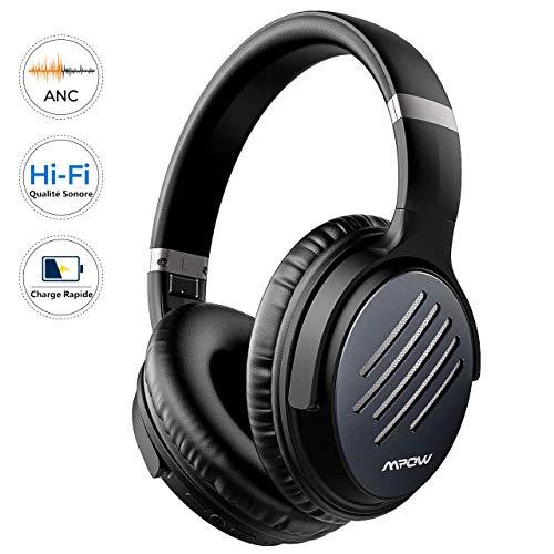 Mpow H16 Casque Bluetooth Reduction de Bruit Active, sur l'oreille 2 Heures de Charge Rapide Casque Audio, 30 Heures Temps de Musique, Deep Bass avec CVC 6.0 Mic pour TV/PC/Téléphone