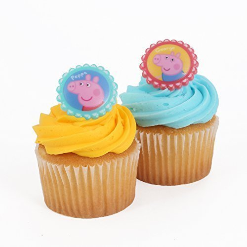 Bakery Crafts - Peppa Pig 24 Cupcake Topper Rings, 1.5 x 1.5 by Bakery Crafts