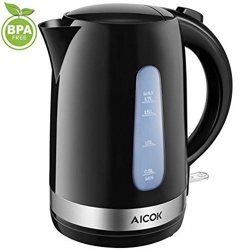 Aicok Wasserkocher elektrisch | 2200W | 1,7 Liter | Set | BPA Frei | Anti-Kalk-Filter | Kabellos | LED Schnellkochfunktion | Patentierter Strix Controller | Automatische Abschaltung | Schwarz
