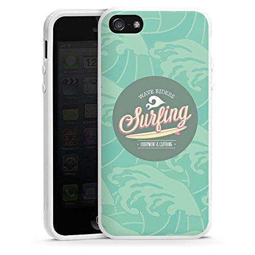 Apple iPhone 5 Housse étui coque protection Surfer Surfeur Été Housse en silicone blanc