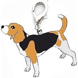 OHA de PET Beagle Charm llavero perro de caza y cazador favoritos * Negro de color marrón de color blanco * Perros Collar colgante joyas colgante diseño