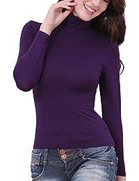LaoZanA Maglia Termica A Collo Alto Invernale Intimo Maglietta Maniche  Lunghe Sottile da Donna Viola L a6e24a812b1
