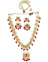 Zevarcraft Alloy Red And Gold Color Necklace Set For Women Ze-005