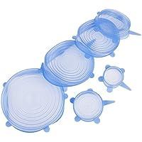 Tapas superelásticas de silicona para cuencos universales de alimentos, tapas de ventosa de fácil ajuste para tazas de café, 6 unidades, silicona, azul, 6-Pack