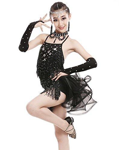 YI WORLD Kind Lateinischer Tanz Kostüme Mädchen Sequins Quaste Kleid blau schwarz rot , black , 140cm