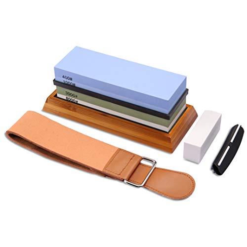 Razorri Solido Abziehstein für Messer, 2 in 1 Doppelseitiger Schleifstein mit Abrichtstein, Wetzstein   Körnung 400/1000, 3000/8000   mit Rutschfester Basis & Schleifhilfe   18 x 6 x 3 cm
