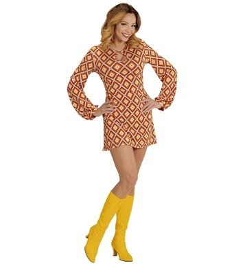 1970 Mode Kostüme (NEU Damen-Kostüm Kleid Groovy, Rhombus, Gr.)
