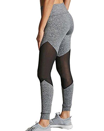 Donna Mesh Leggings Trasparenti Sportivi Fitness Palestra Pantaloni Patchwork Di Yoga Sport Jogging Grigio