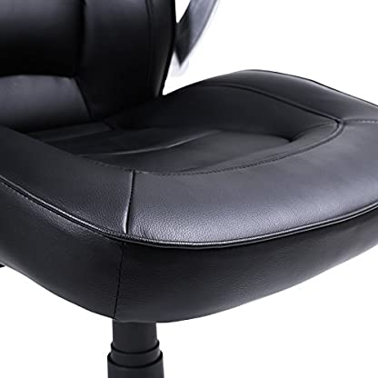 411H0uIPReL. SS416  - Songmics Silla giratoria de oficina Silla de escritorio Racing negro Recubrimiento de PU Reposabrazos ajustable OBG62B