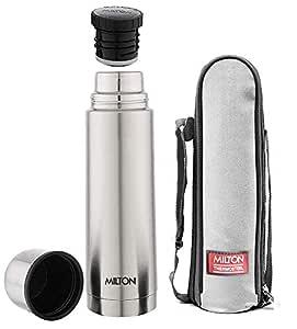 Milton Thermosteel Plain Lid 1000 Flask , 1 Litre, Silver