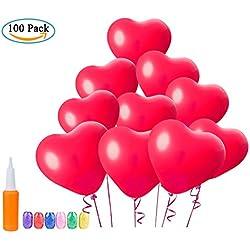 [100 Piezas] Globos Corazon Rojo, WolinTek Globos de Fiesta para boda cumpleaños globos fiesta