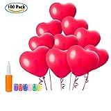 [100 Stück] Rot Luftballons Herzluftballons, Wolintek Herz Ballons Mit Pumpe Dekorationen Für Party, Hochzeit, Valentinstag