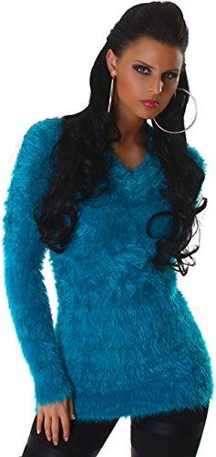 Reckon donne pullover maglione della camicia maglione con scollo a V lungo Jumper camicia lunga Uni velcro 38,40,42,44 Petrol