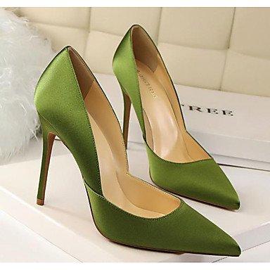 SHOESHAOGE Chaussures Pour Femmes En Cuir De Brevet Printemps Automne Basic Confort Pompe À Talons Gris Noir Rouge Vert Occasionnels Green