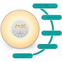 StillCool luces depertador,despertador con luz de amanecer, simulación de desvanecimiento de amanecer, luz de noche con sonido natural, radio FM, control táctil