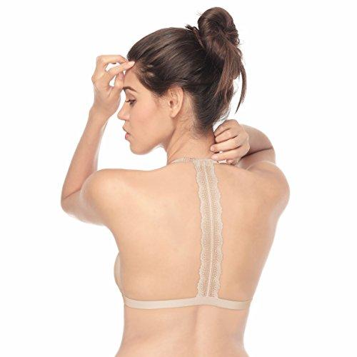Tripetals Damen Triangel BH Strappy Bra mit verstellbarem Frontverschluss Bügelloser Unterwäsch Bustier mit Spitze T Rücken Racerback Dessous Bralette Beige Medium
