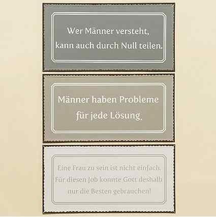 1 x Schild Trina Eisen lackiert Breite 40 cm Spruch: Wer Männer versteht, kann auch durch Null teilen!