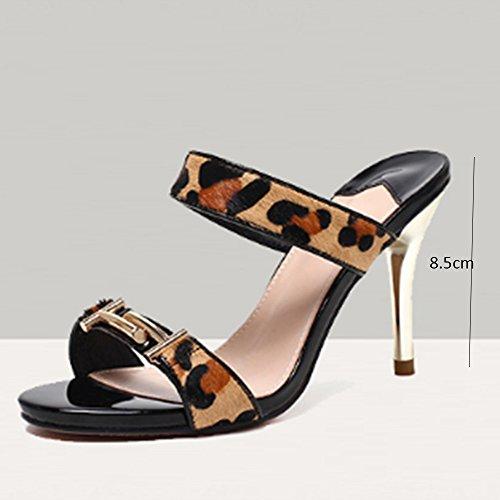 Confortable Pantoufles de dames d'été Porter des pantoufles à talons hauts Chaussures exposées à la mode fines avec des pantoufles sexy Chaussons de refroidissement extérieurs (2 couleurs en option) ( A