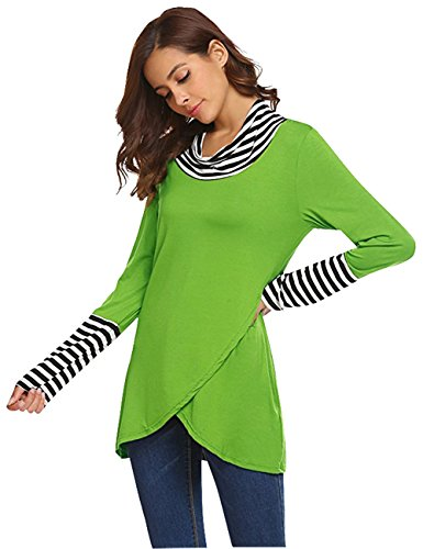 WAJAT Damen Wickeloptik T Shirt Langarm Asymmetrisch Wrap Tunika Gestreifte Tops Grün