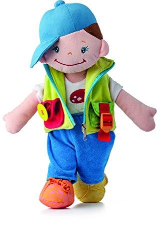 """Preisvergleich Produktbild Große Niny Lernpuppe Junge """"KEIKI"""". Spielerisch lernen. Mit Knopf, Bindeschnur, Reißverschluss, Klettverschluss, An- und Ausziehen etc. 41 cm groß!"""