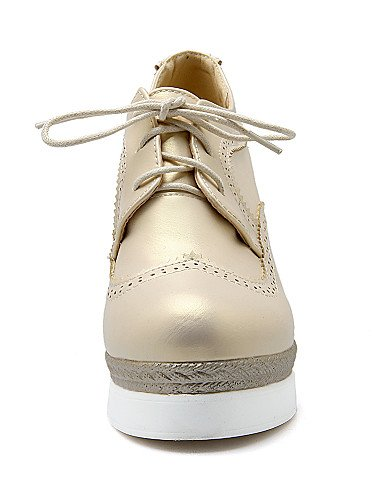 ZQ hug Scarpe Donna-Scarpe col tacco-Casual-Zeppe-Zeppa-Finta pelle-Nero / Bianco / Dorato , golden-us5 / eu35 / uk3 / cn34 , golden-us5 / eu35 / uk3 / cn34 black-us6 / eu36 / uk4 / cn36